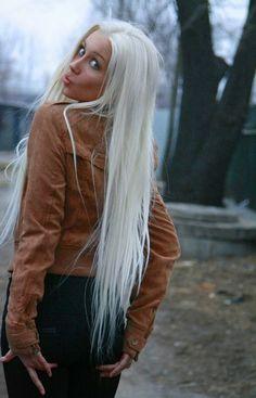 long platinum / white blonde hair