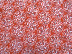 vintage fabric  orange with white floral by thriftypyg on Etsy