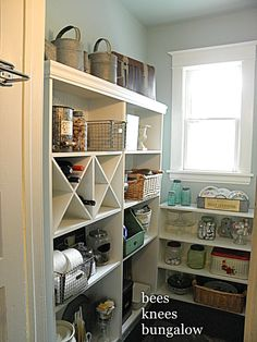 pantry shelving, like the wine storage too
