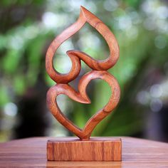 Suar Wood Heart #Sculpture from Indonesia.
