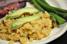 Peppered Garlic Quinoa with fresh avocado