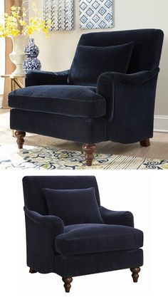 Part of the Line, the midnight blue accent chair embodies elegance and class. The deep blue of the fabric is beautiful and can serve as a dark base accent color in your living space. This chair comes with a matching accent pillow for a decorative touch. The Accent Seating Upholstered Chair at Great American Home Store in the Memphis,TN, Southaven, MS area. #shopgahs #accentchair #velvetblue #traditionalstyle #upholsteredchair #livingroom #socialroom #readingnook #fireplace #ohmygogahs