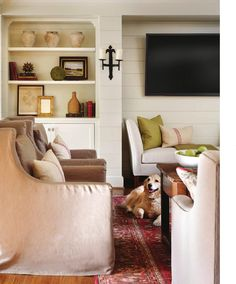 Panels on walls, placement of TV. ISSUU - Atlanta Homes & Lifestyles May 2014 by Network Communications Inc.