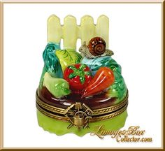Garden Patch, Veggies & Snail Limoges box