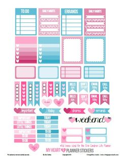 My Heart Planner Stickers | Valentine Stickers - Free printable, for personal use