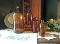 Vintage Antique Brown Apothecary Bottle / Amber by AloofNewfWhimsy