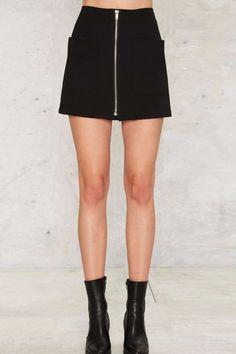 Black Zipper Decor Front Pocket Mini Skirt