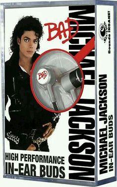 - Michael Jackson Bad Earbud Headphones - want them so bad! Michael Jackson Tattoo, Michael Jackson Wallpaper, Michael Jackson Bad Era, The Jackson Five, Jackson Family, Michael Jackson Merchandise, In Ear Buds, King Of Music, Cool Things To Buy