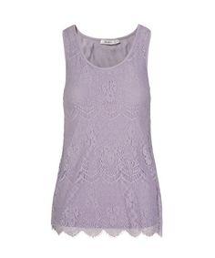 Sleeveless Textured Lace Overlay Top