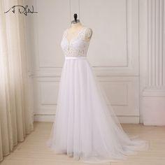 White Ivory Scoop Tulle Appliques Beach Boho Wedding Dress - My Wedding Ideas