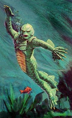cryptofwrestling:  Box art for Aurora's Monsters Of The Movies Creature From The Black Lagoon model kit