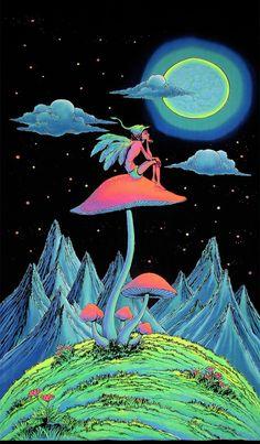 Psychedelic batik wall-hanging Tapestry, 'Mushroom Fairy'. Hand-painted, silkscreen, UV active, trip