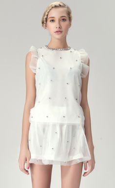 White Ruffles Sleeveless Beading Top with Shirt