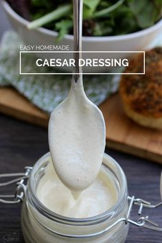 This Easy Homemade Caesar Dressing is easy to make, ready in just 5 minutes and let me tell you, it tastes so much better than store bought Caesar dressing! Homemade Dressing Recipe, Homemade Sauce, Salad Dressing Recipes, Salad Recipes, Drink Recipes, Salad Bar, Soup And Salad, Dips, Dressings