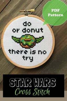 Do or Donut There is No Try - Yoda Inspired Donut Cross Stitch Pattern - Funny Star Wars Cross Stitch PDF Pattern #starwars #disney #yoda #donut #crossstitch #affiliate