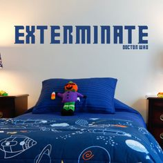 Exterminate-Doctor-Who-LARGE-WALL-STICKER-Decal-WallArt-SS1575 Large Wall Stickers, Light Up Box, Doctor Who, Comforters, Bedroom Ideas, Decals, Blanket, Wall Art, Furniture