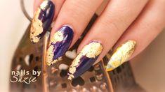 Suzie creates a bold nail art design with Gold Foil and Polish. Nail Polish and PURE ICE Walmart Top Coat Professional Acrylic Starter Kit NAIL CAR. Foil Nail Art, Acrylic Nail Art, Simple Nail Designs, Gel Nail Designs, Fake Nails French, Art Tutorial, Tutorial Nails, Elegant Nail Art, School Nails