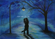 "Couple in Love Couple Kissing Couple Couples Painting Print Romance Romantic Umbrella Rainy ""One Love One Lifetime"""