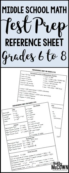 This FREE Middle School Math Test Prep Reference Sheet covers 6th to 8th Grade Common Core Standards. A great tool to use for students as an instructional aide or support. Easy to use and can be given with any Math Assessment or Exam.