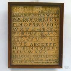 Needlework Sampler, Early 19th Century, Wool Thread On Linen, Skinner Auctioneers, MA