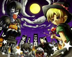 Happy Halloween, text, Laughing Jack, Ben Drowned, Jeff the Killer, Smile Dog, Splendorman, moon, city, costumes, outfits, cute, pumpkin, candy, wolf, ghost, witch; Creepypasta