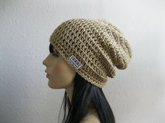 Crocheted Slouchy Beanie Hat Tan Beige Unisex by yarnmeditations