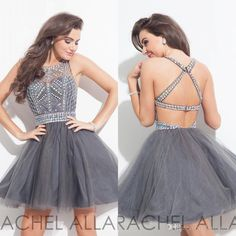 Grey Crystals Homecoming Dresses Rachel Allan 2016 Backless Beaded Jewel Neck Tulle Mini Prom Party Gowns Short Cocktail Dress Custom Open Back Homecoming Dresses Plus Size Homecoming Dresses Under 100 From Dmronline, $116.39| Dhgate.Com