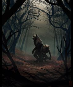 Brothers of the Woods_LeSoldatMort Mythological Creatures, Fantasy Creatures, Mythical Creatures, Werewolf Hunter, Werewolf Art, Dark Fantasy Art, Dark Art, Arte Robot, Vampires And Werewolves