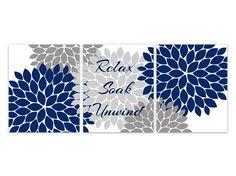 Floral Relax Soak Unwind Print Trio Bathroom Home Decor Wall - Blue and grey bathroom for bathroom decorating ideas