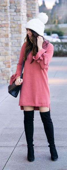 How to wear over the knee boots with dress, pom pom beanie, winter fashion, petite fashion blog