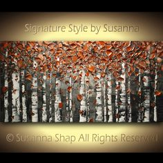 ORIGINAL Large Abstract Birch Trees Painting by ModernHouseArt