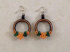 Náušnice - kruhy zdobené oranžovými květy * quilling