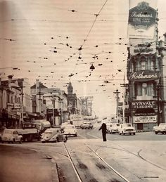 St Kilda Junction, looking S along Nepean Hwy with traffic plod, Junction Hotel on R, built substantially remodelled Demolished 1973 for High St widening to Carlisle St. Places In Melbourne, St Kilda, Carlisle, Back In The Day, Historical Photos, Past, Saints, Street View, Australia