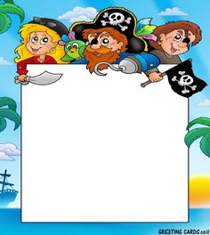 Frame with three cartoon pirates - color illustration. Pirate Activities, Activities For Kids, Pirate Theme, Pirate Party, Scrapbook Da Disney, Free Printable Stationery, Pirate Kids, Boarders And Frames, Framed Wallpaper