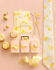 Use a cork and ink to stamp a charming polka-dot pattern onto place cards, drink stirrers, and more