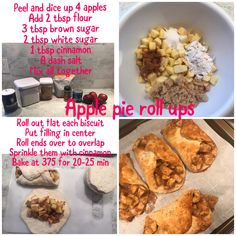 Apple pie roll ups. Easy and can use pillsbury biscuits. Allrecipes Apple Pie, Roll Ups, Pillsbury, Love Food, Brown Sugar, Biscuits, Cinnamon, Canning, Easy