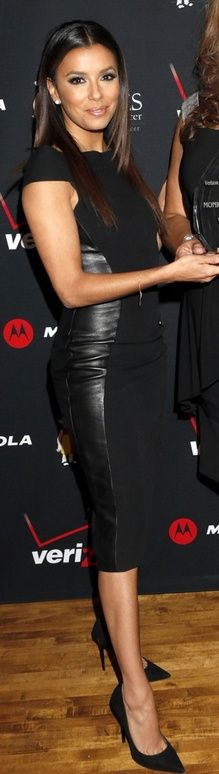 Eva Longoria in black leather dress and black pumps <3