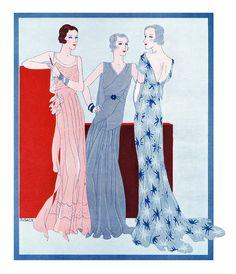 1930 fashion illustration by G. Sacy.