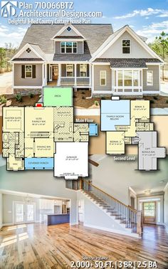 Delightful Country Cottage House Plan - Architectural Designs Home Plan gives you 3 bedrooms, baths and sq. Ready -Plan Delightful Country Cottage House Plan - Architectural Designs Home Plan gives you 3 bedrooms, ba. Sims House Plans, New House Plans, Dream House Plans, Small House Plans, Small Farmhouse Plans, Two Story House Plans, Cottage House Plans, Craftsman House Plans, Cottage Homes