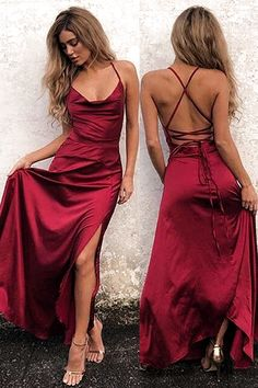 Simple A-Line Halter Burgundy CrisCross Long Prom Dress with Split Front Red Silk Dress Looks You Need To Try This Valentine's Day Straps Prom Dresses, Ball Dresses, Sexy Dresses, Evening Dresses, Girls Dresses, Party Dresses, Homecoming Dresses, Fashion Dresses, Dresses Dresses