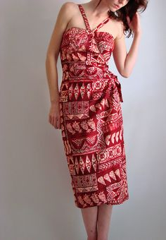 VTG 50s ALFRED SHAHEEN Hawaiian Sarong dress - for my hawaiian fabric stash