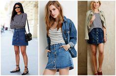 Como usar saia jeans com botão frontal