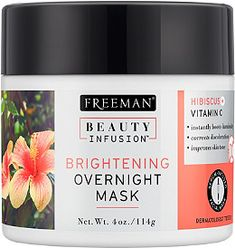Beauty Infusion Hibiscus Overnight Brightening Mask by Freeman is a lightweight, serum-infused water-gel overnight mask is boosted with concentrated Vitamin C to help minimize dark spots and correct discoloration. Perfect for normal to dry skin.