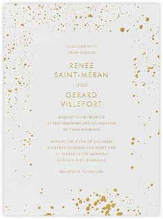 Splatter Cloth II - Gold - Paperless Post / Online and paper invitation options / Wedding invitation suite / Rehearsal dinner invitation