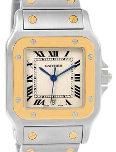 03fc68491c6 Cartier Silvered Santos Galbee Large Steel 18k Yellow Gold Quartz W20011c  Watch - Tradesy Cartier Santos