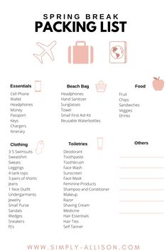 The Ultimate Packing List for Spring Break - Simply Allison This is the ultimate spring break packing list that is for everyone including college students, family, and kids. Whether you're going to California, Arizona, or Mexico this pa Holiday Packing Lists, Summer Packing Lists, Business Trip Packing, Beach Vacation Packing List, Packing List For Vacation, Packing Tips, Cruise Packing, Packing Checklist, Vacation Deals
