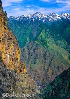 Oregon's eastern border is Hells Canyon at its very deepest point. The He Devil, the highest peak in the Seven Devils Range on the eastern rim of the canyon, is roughly 8,000 above the white speck of Granite Falls on the Snake River.