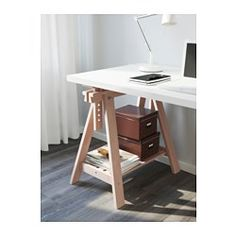 """IKEA - LINNMON / FINNVARD, Table, white, 59x29 1/2 """", , You can choose a flat or tilted table top, which is good for writing, painting or drawing, by adjusting the trestle.Plenty of room on the shelf under the trestle for your printer, books or papers. That keeps your table top clear so you have more room to work."""