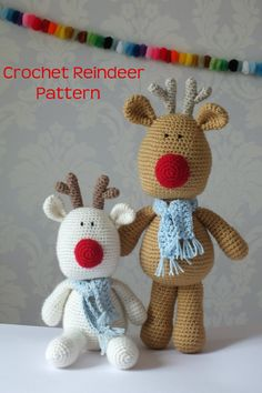 Crochet Reindeer Rudolf Amigurumi PATTERN ONLY PDF Easy Christmas Crochet Pattern Stuffed Animal Toy