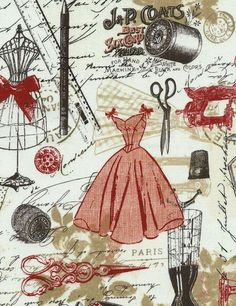yd Bonjour Paris Vintage Dress Making by Timeless Treasures Fabrics Price is per yard 18 x 45 x each Machine Wash/Dry Cotton Quilt Shop Quality Feel free to ask any questions. Sewing Art, Vintage Sewing Patterns, Sewing Crafts, Sewing Projects, Pattern Sewing, Pants Pattern, Pattern Paper, Embroidery Patterns, Free Pattern